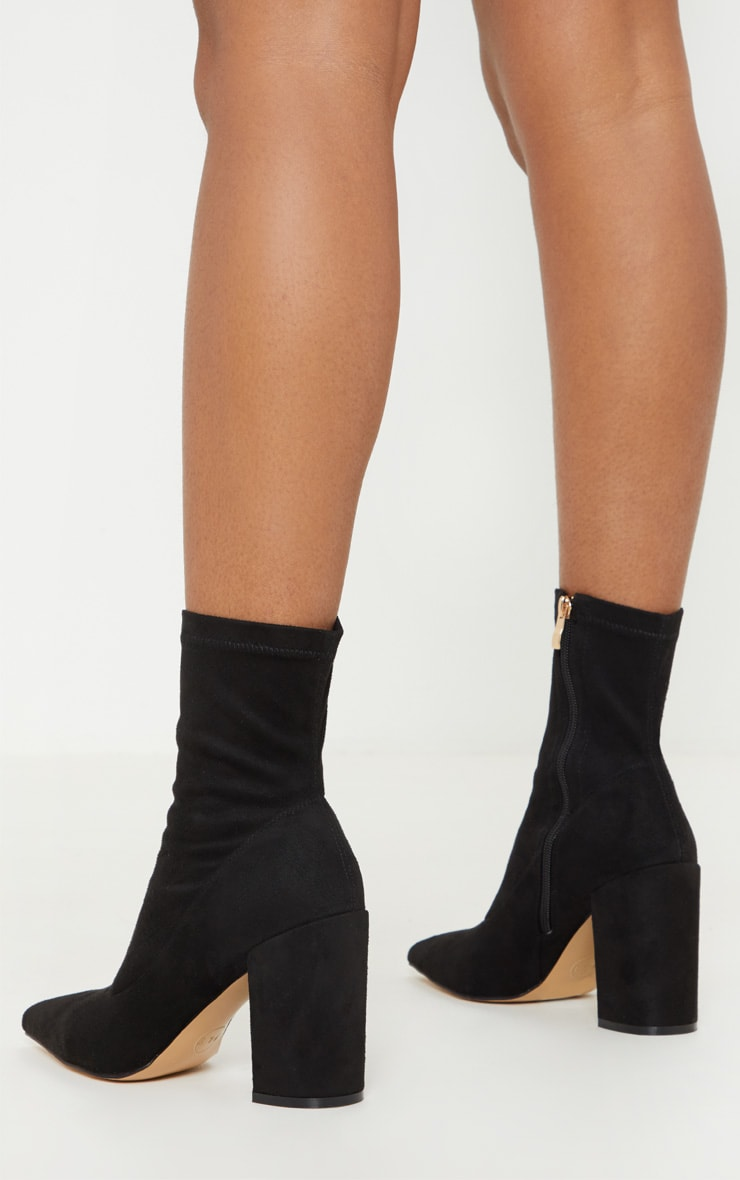 Black Mid Heel Point Ankle Sock Boot 2