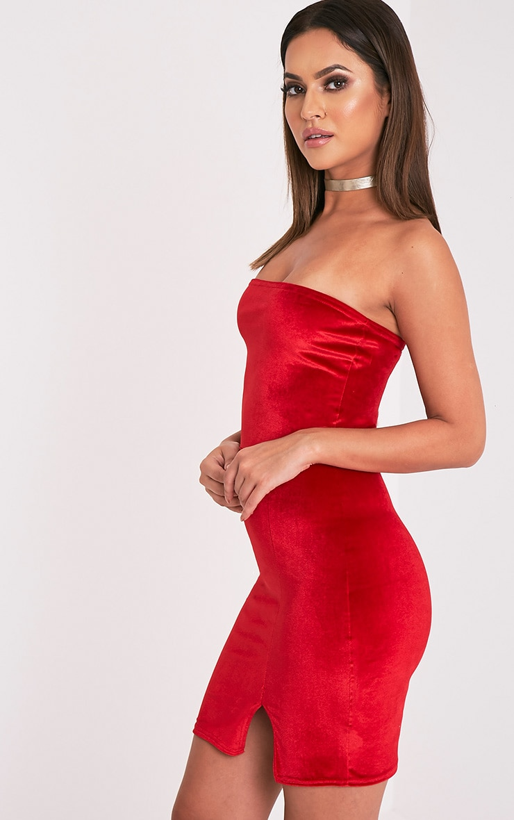 Layala Red Velvet Split Detail Bandeau Dress 4