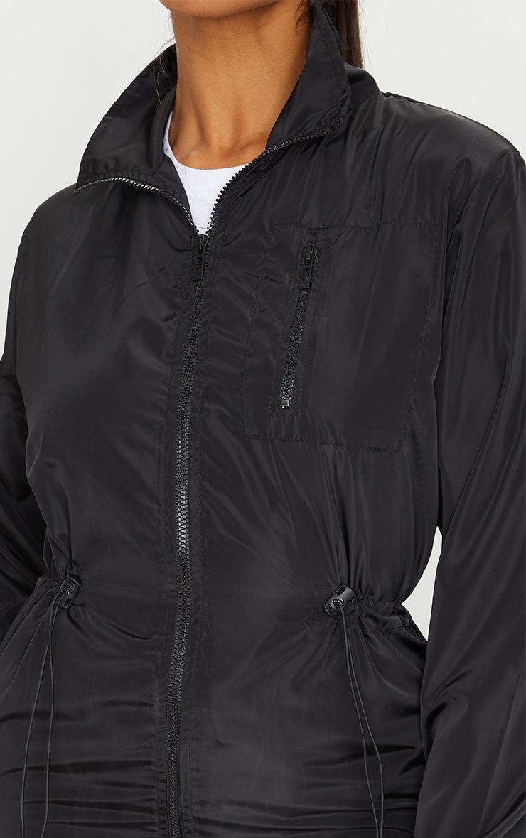 Black Nylon Toggle Waist Longline Mac 4