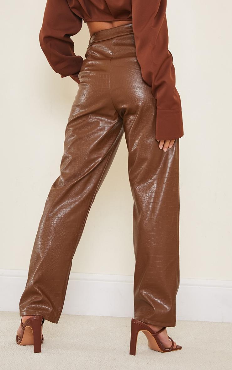 Petite Chocolate Mock Croc PU Pants 3