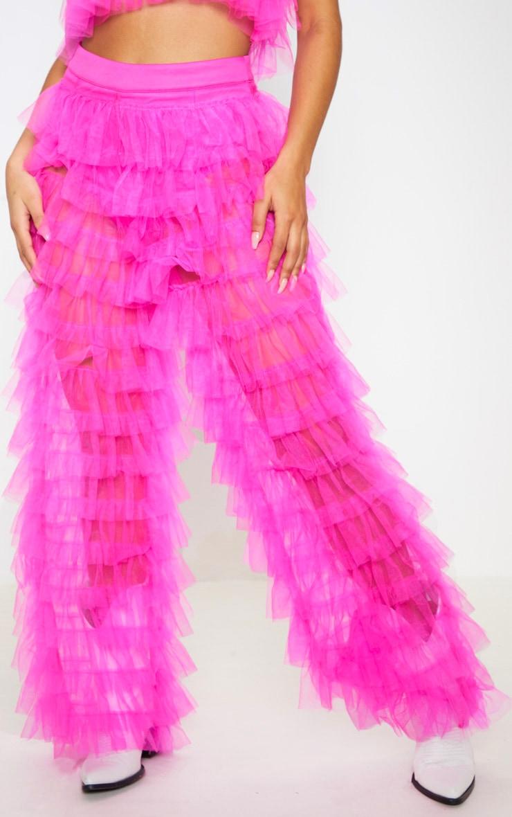 Bright Pink Ruffle Wide Leg Pants 3