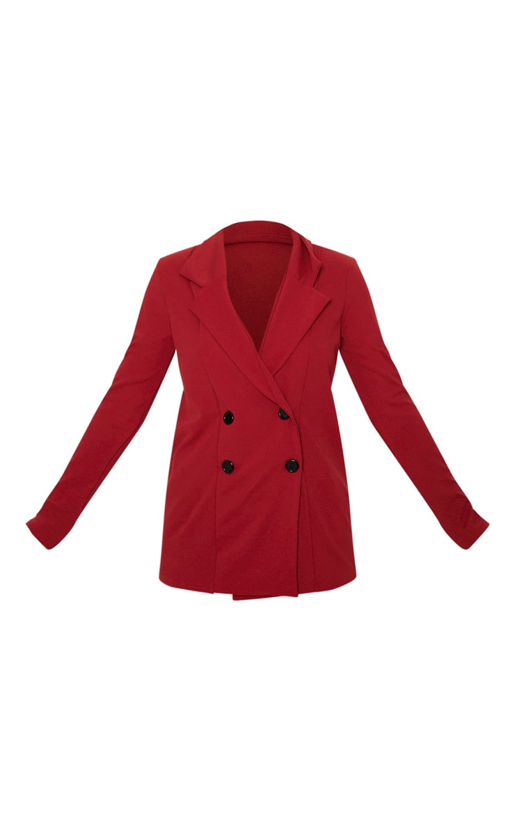 Deep Red Double Breasted Button Suit Jacket 3