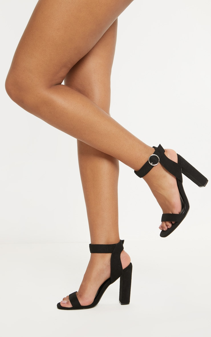 Black Ring Buckle Block Heel Sandal 2