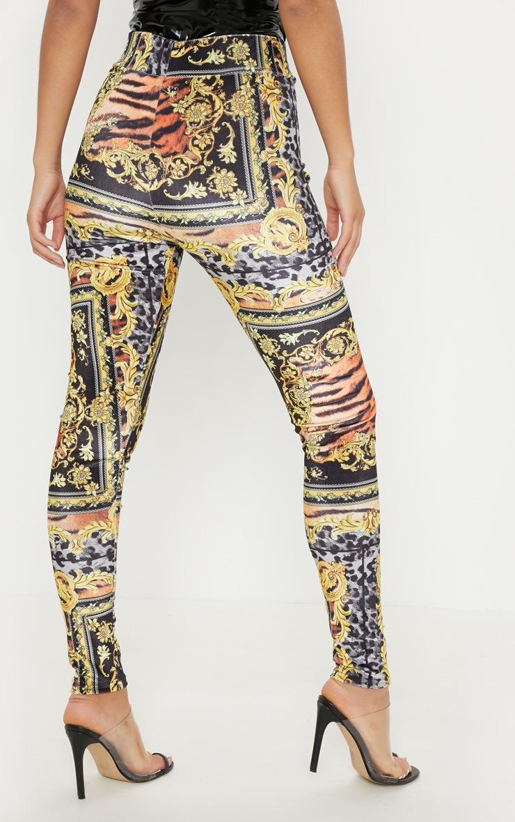 Black Scarf Print Velvet Legging 4