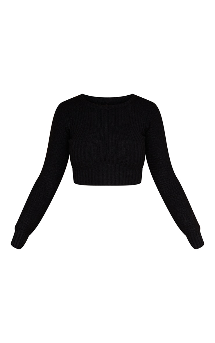 Black Cropped Rib Knit Sweater 5