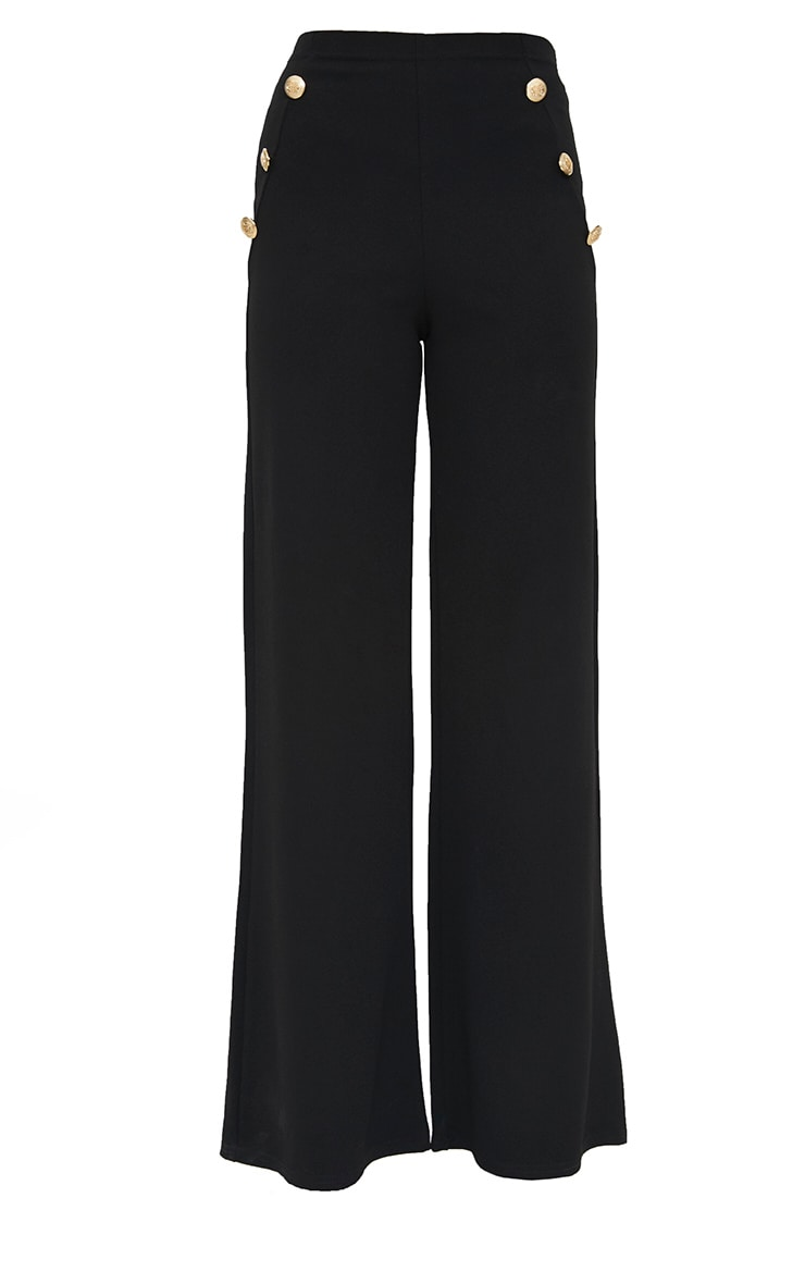 Petite Black Military Button Wide Leg Trousers 3