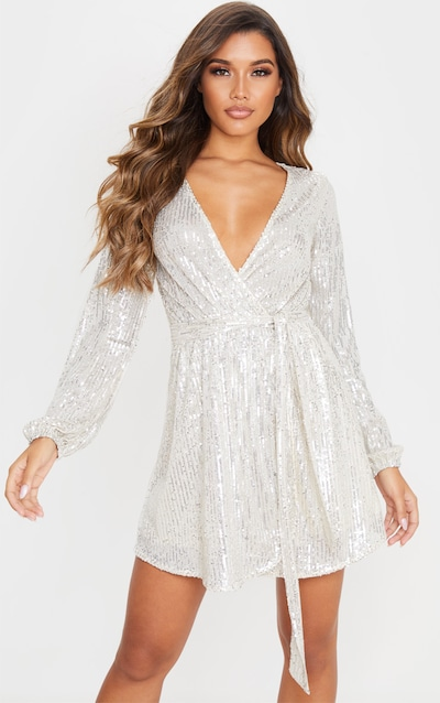 Silver Tie Waist Wrap Shift Dress