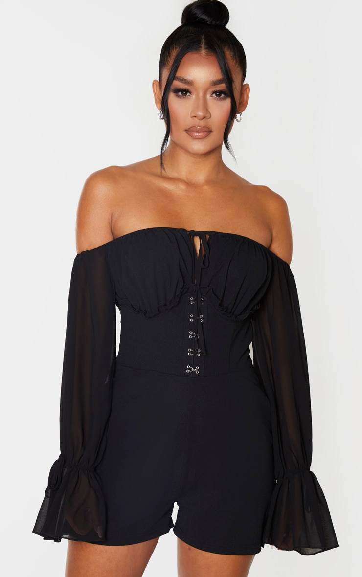 Black Corset Detail Chiffon Sleeve Playsuit 1