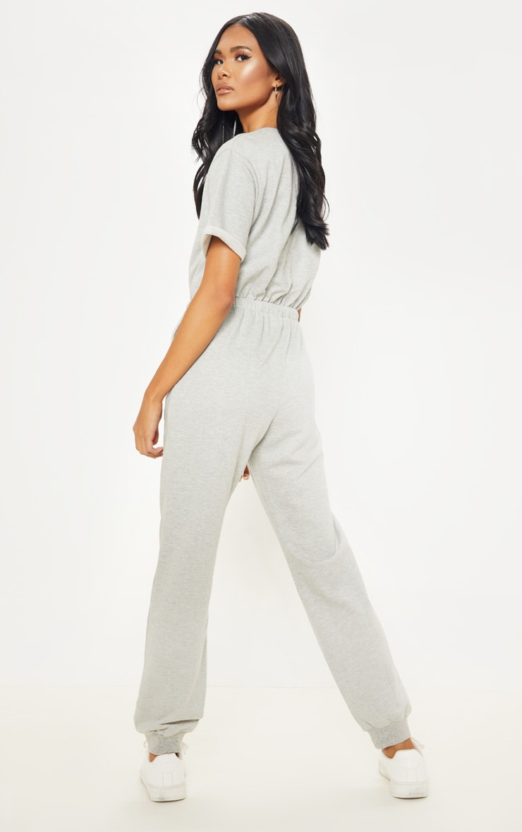 Grey Short Sleeve Sweat Jumpsuit 2
