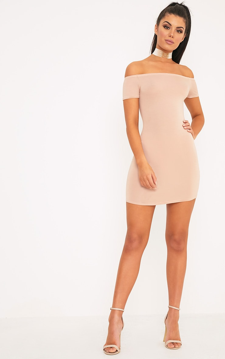 Basic Nude Curve Hem Bardot Bodycon Dress 3