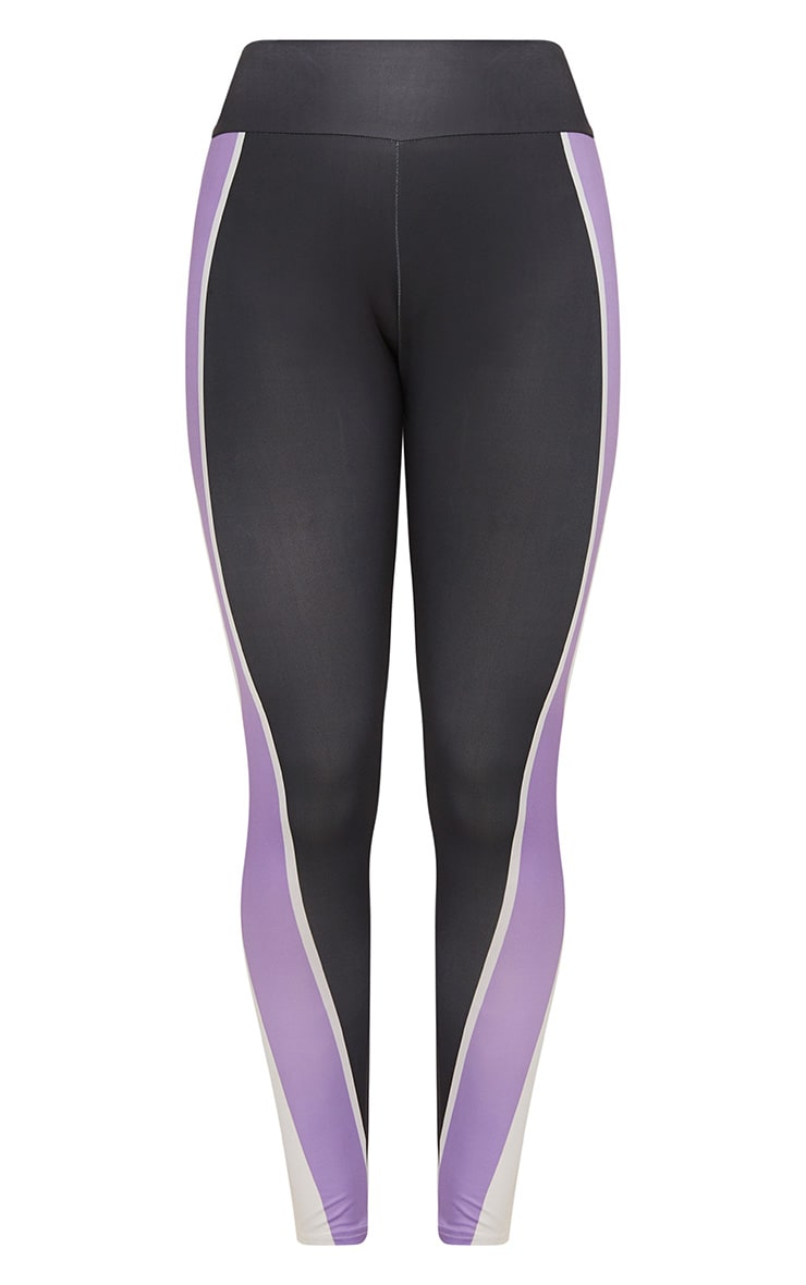 Charcoal Panelled Lilac Stripe Sports Leggings  3