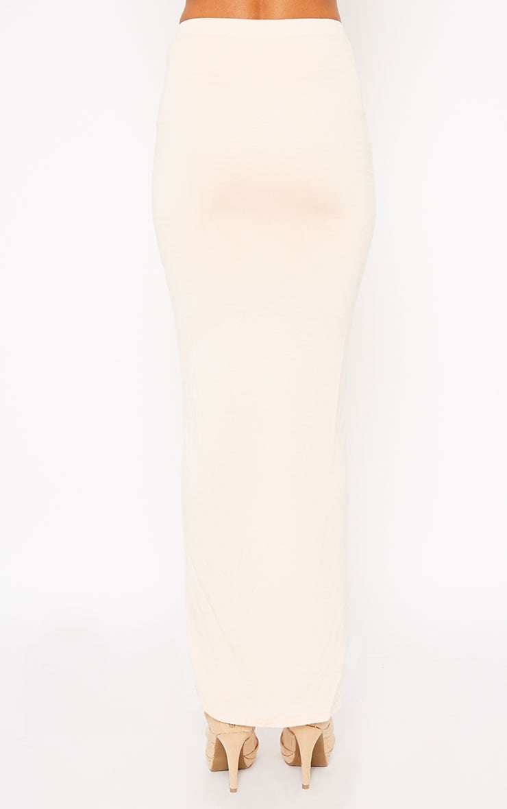 Omari Nude Ruched Front Jersey Maxi Skirt 4