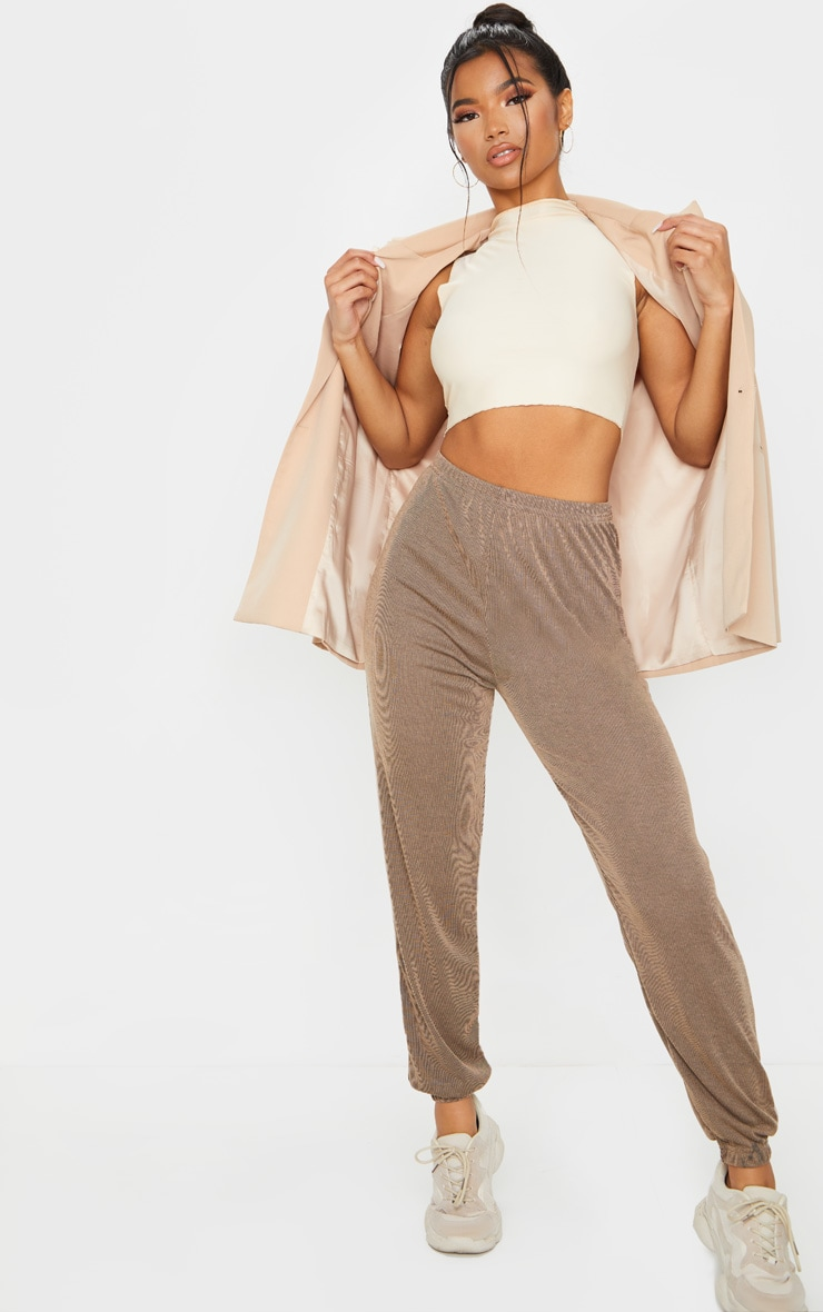 Camel Contrast Ribbed Casual Joggers image 2