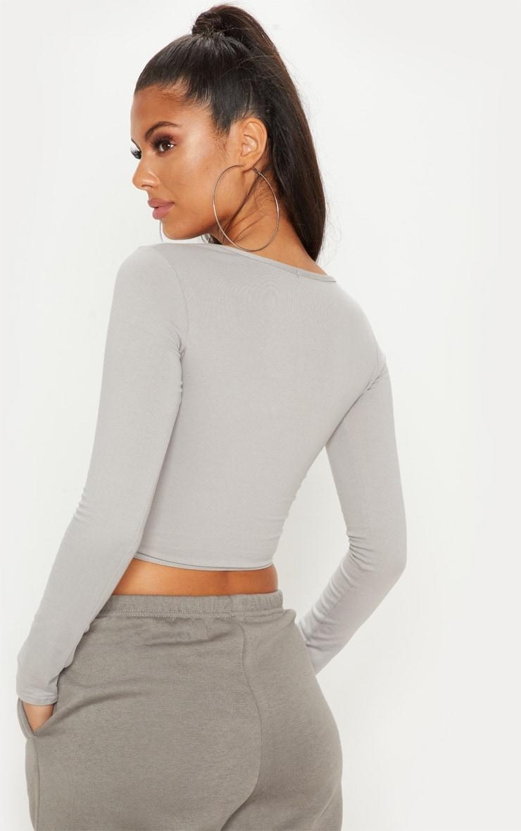 Essential Grey Marl Cotton Blend Longline Long Sleeve Top 2