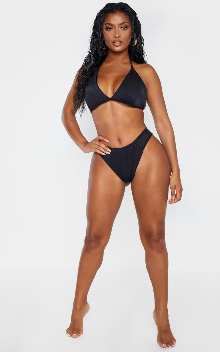 Shape Black Mesh High Side Bikini Bottom 4