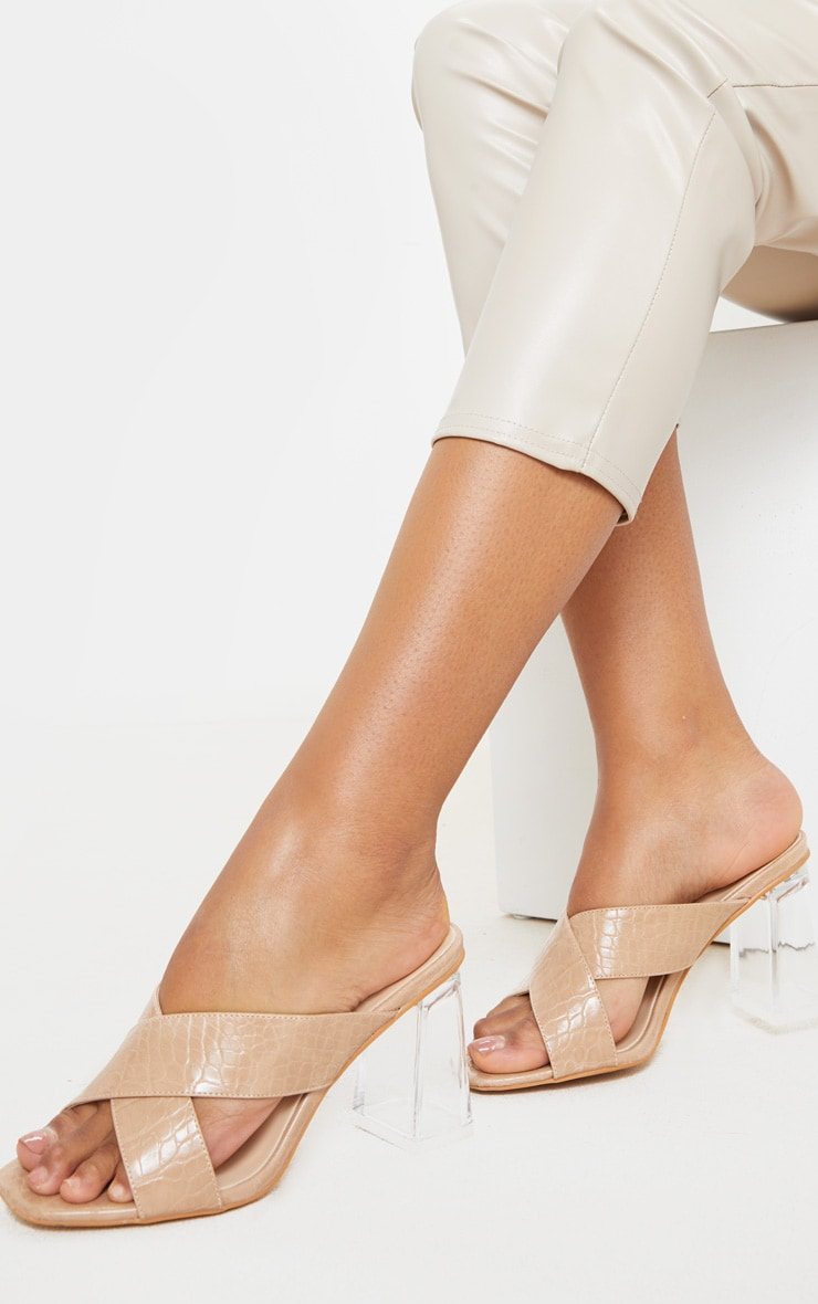 Nude Wide Fit Cross Strap Clear Heel Mule Sandal 2