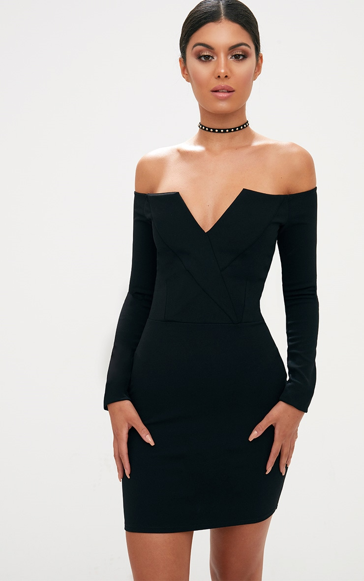 Black Bardot Blazer Bodycon Dress 1