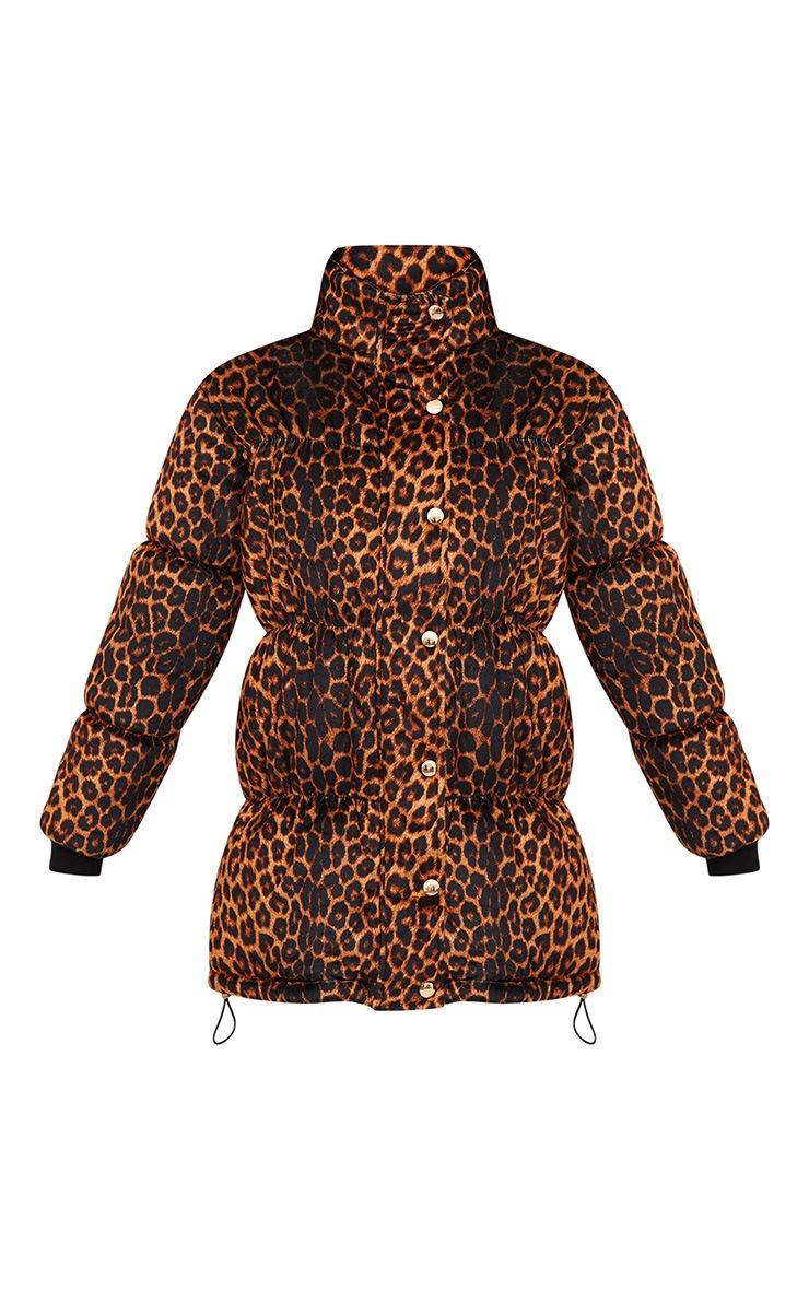 Brown Leopard Velvet Puffer Jacket 3