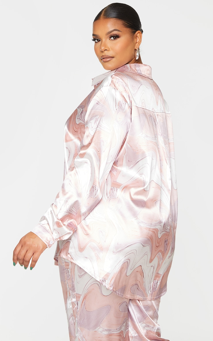 Plus Baby Pink Marble Print Oversized Shirt 2