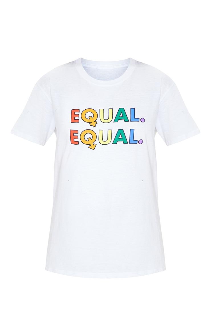 UNISEX White EQUAL Oversized T-shirt  4