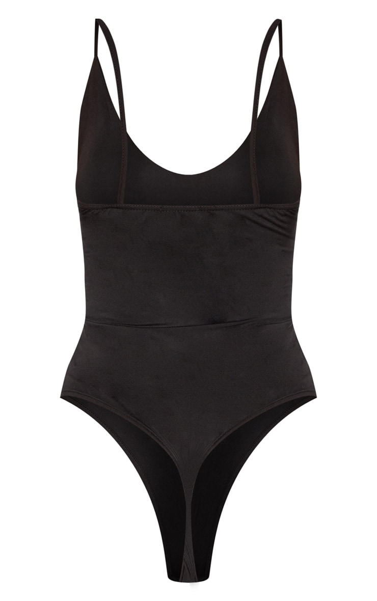 Tall Black Strappy V Front Bodysuit 4