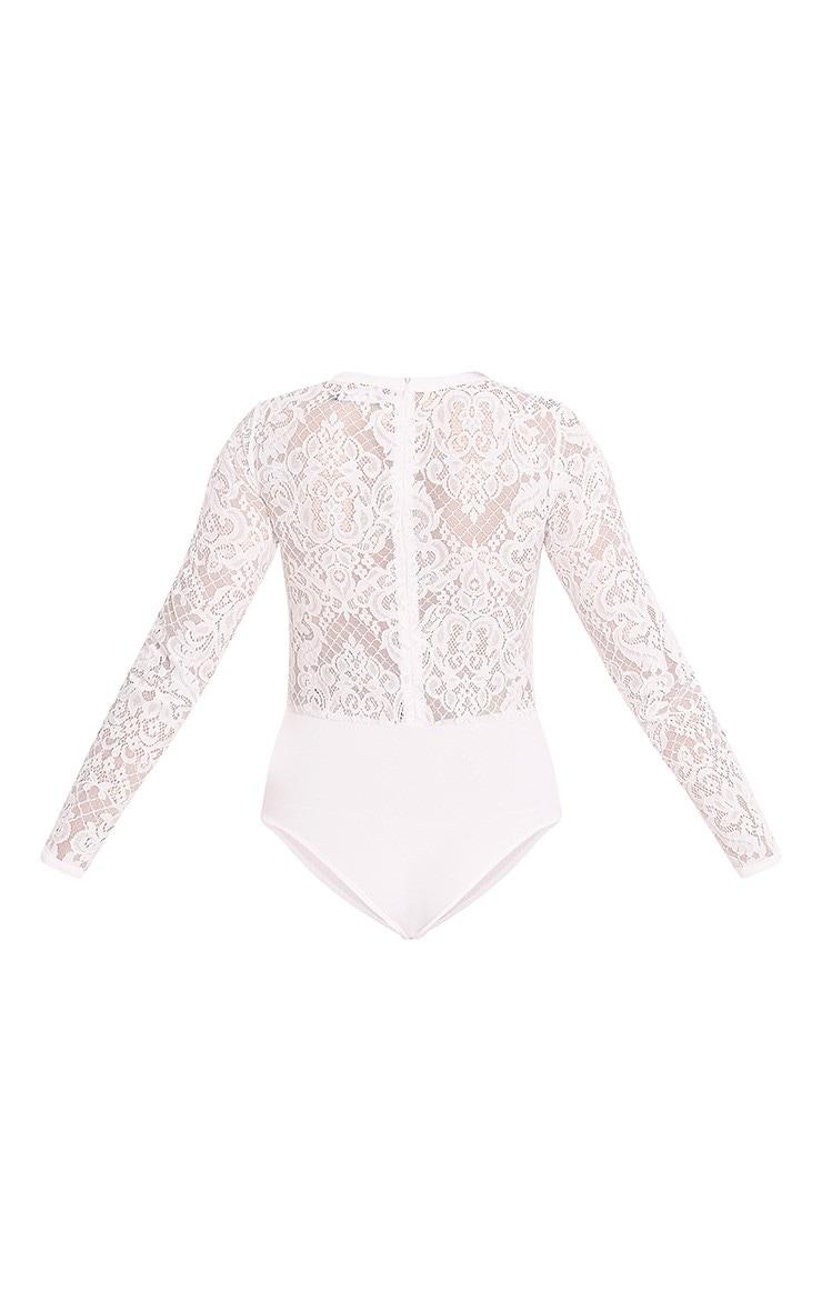 Idalia Cream Hook & Eye Lace Thong Bodysuit 3
