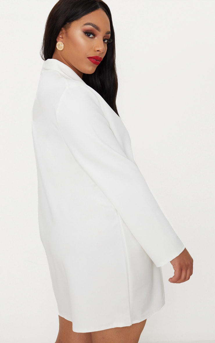 Plus White Gold Button Oversized Blazer Dress 2