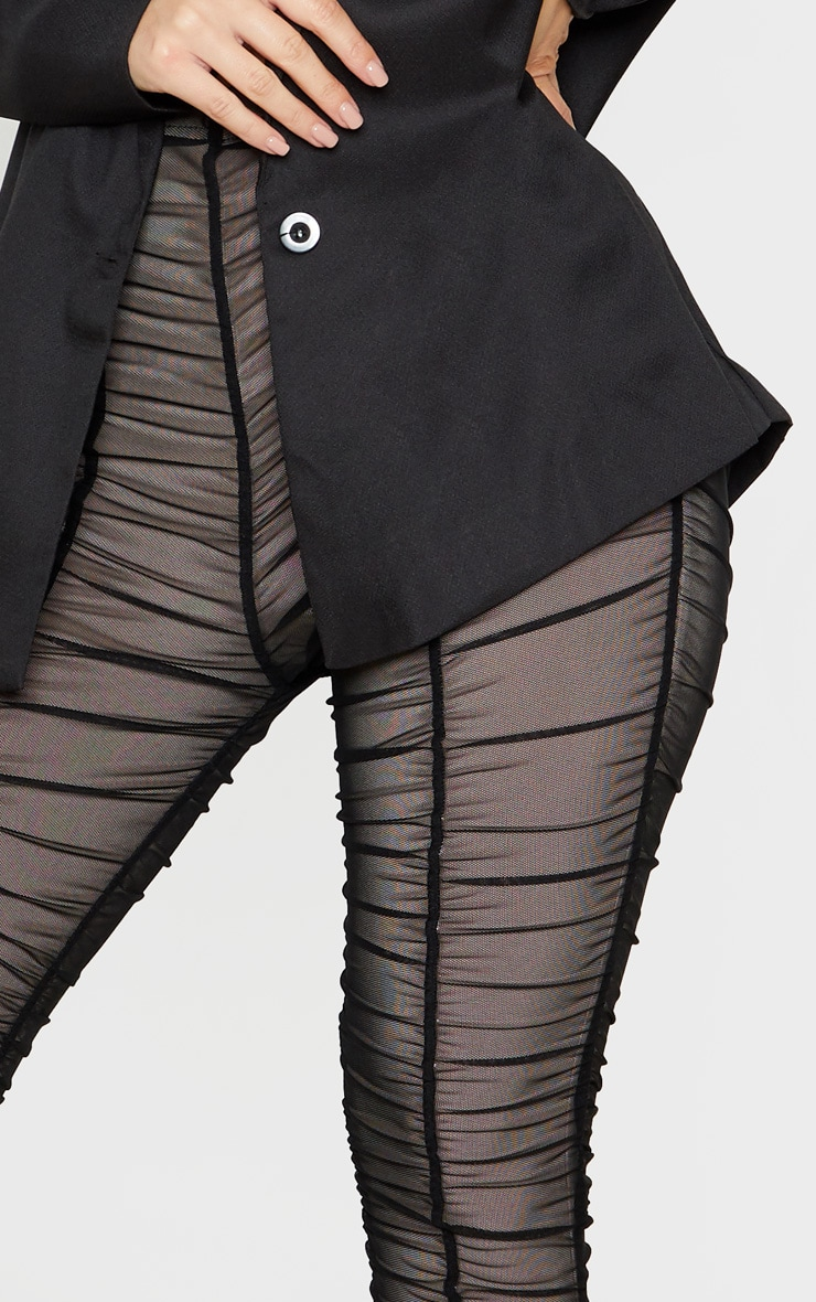 Black Ruched Mesh Layered Trouser 5