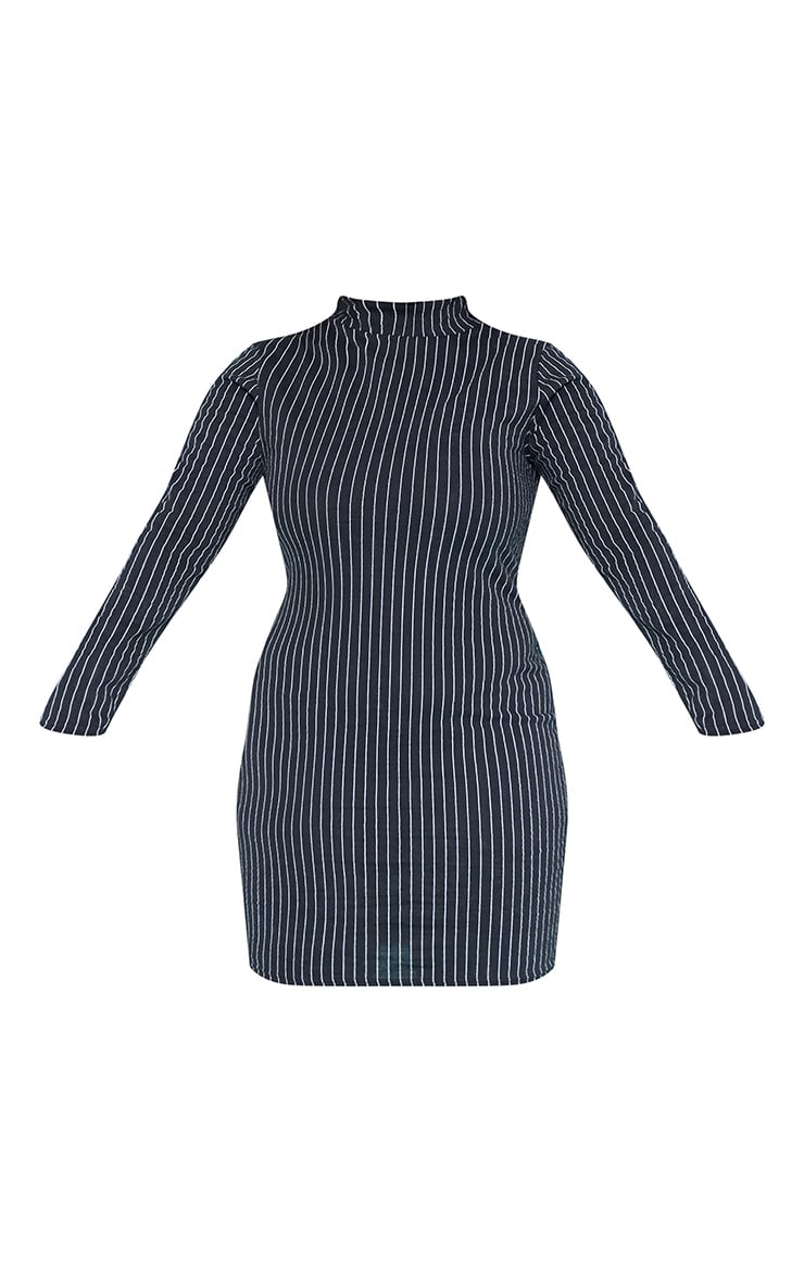 RECYCLED Plus Black Pinstripe Roll Neck Long Sleeve Bodycon Dress 3