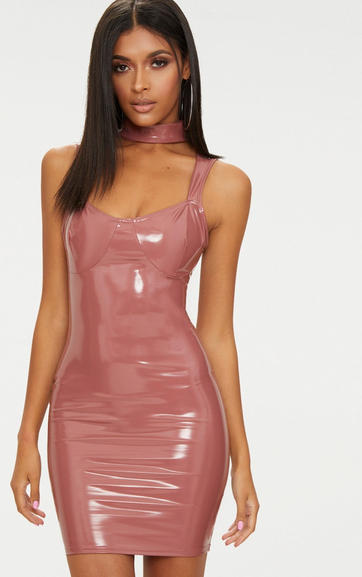 Dark Rose Vinyl  High Neck Strap Detail Bodycon Dress 1