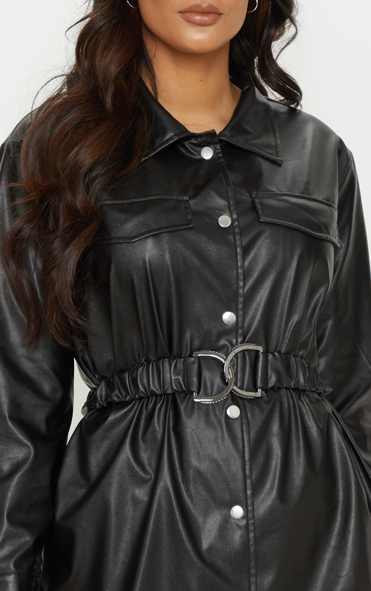 Black Faux Leather Belted Shirt Dress 5