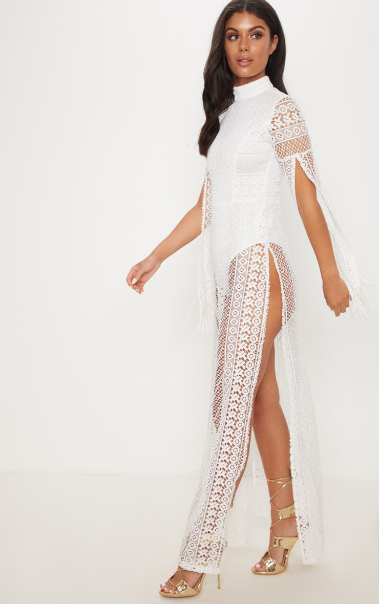 White Crochet Split Leg Maxi Dress 3