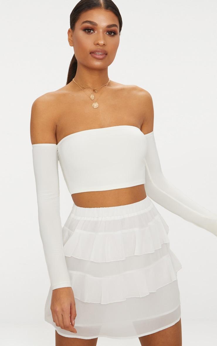 White Chiffon Ruffle Mini Skirt 1