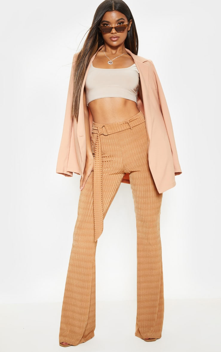 Tobacco Rib D Ring Belted Flare Leg Pant 1