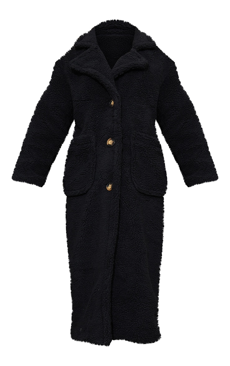 Black Maxi Borg Coat 5
