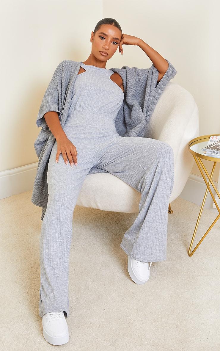 Grey Marl Soft Rib Racerneck Wide Leg Jumpsuit 3