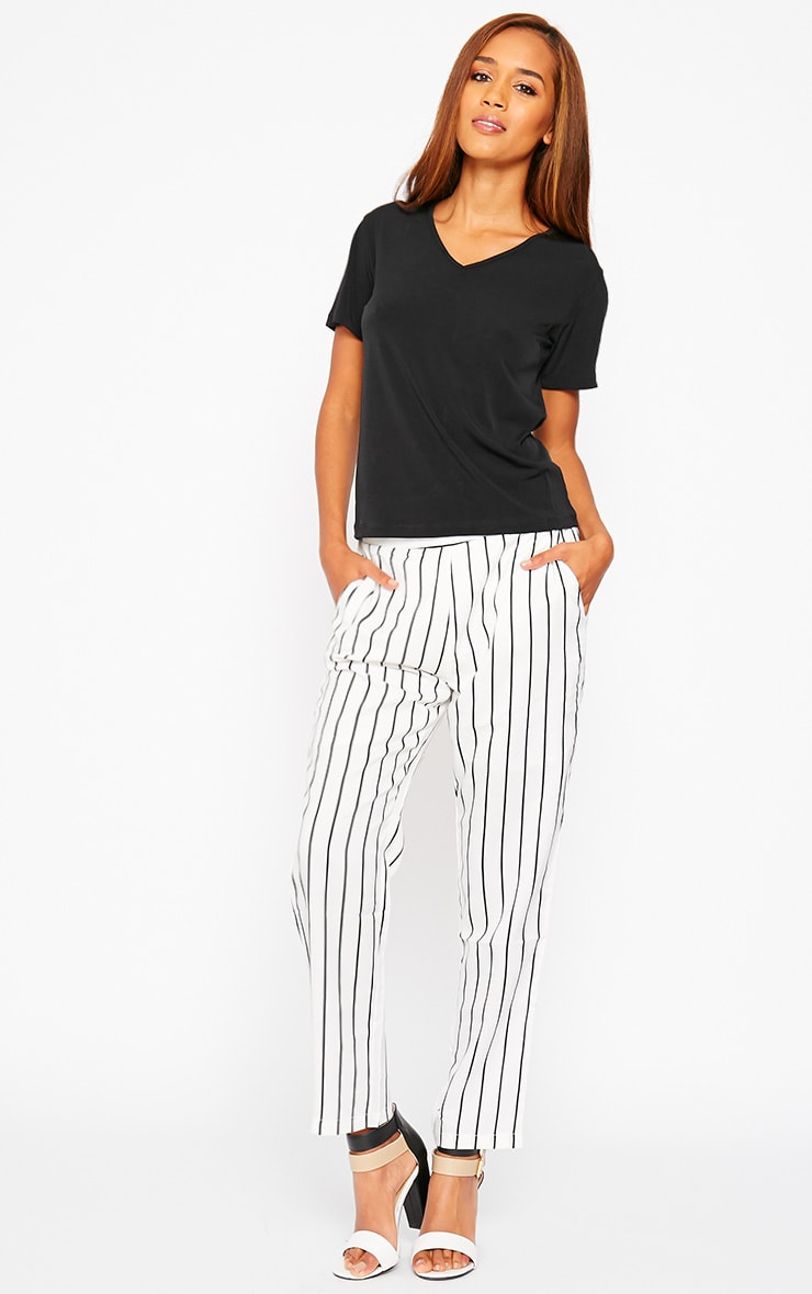 Ariela Cream Stripe Trousers 5
