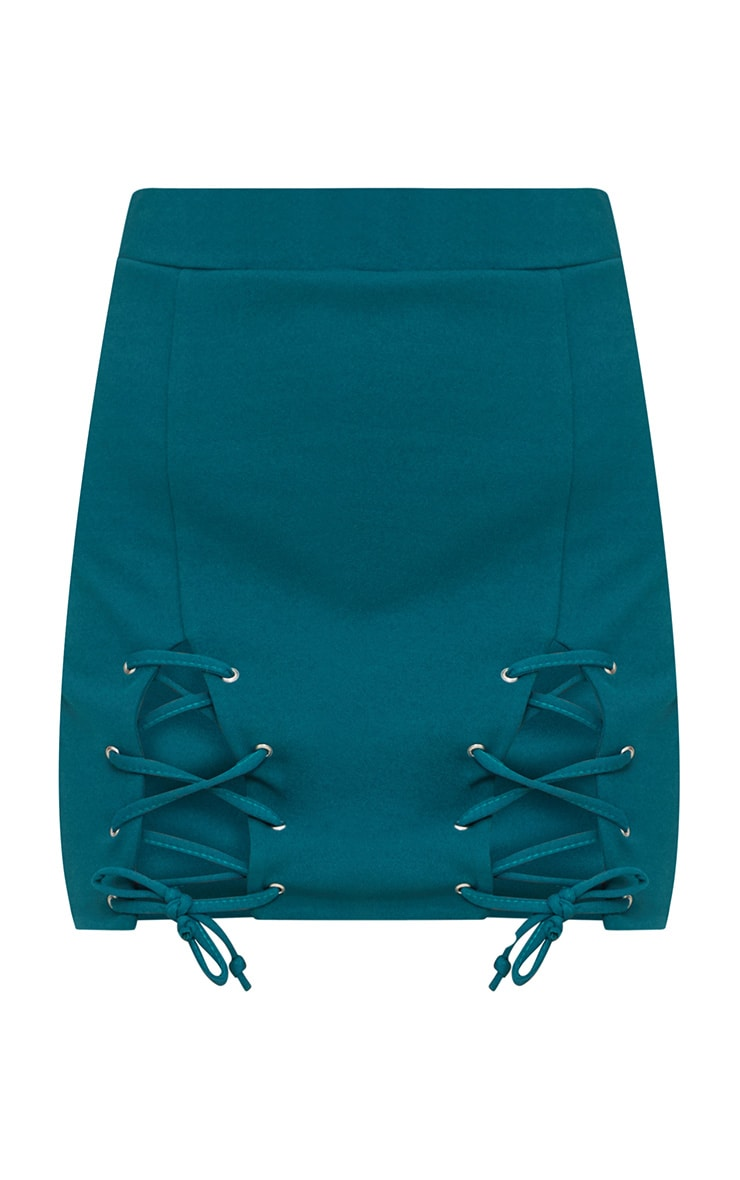 Emerald Green Double Split Lace Up Mini Skirt  3