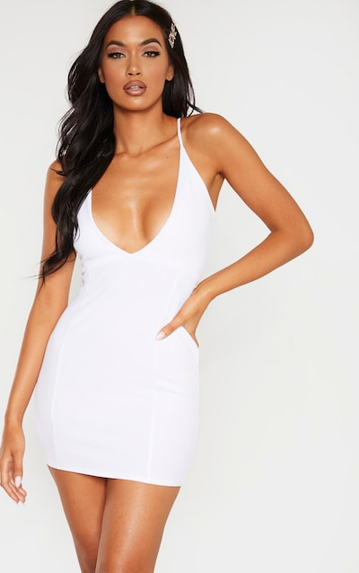 White Deep Plunge Strappy Back Bodycon Dress