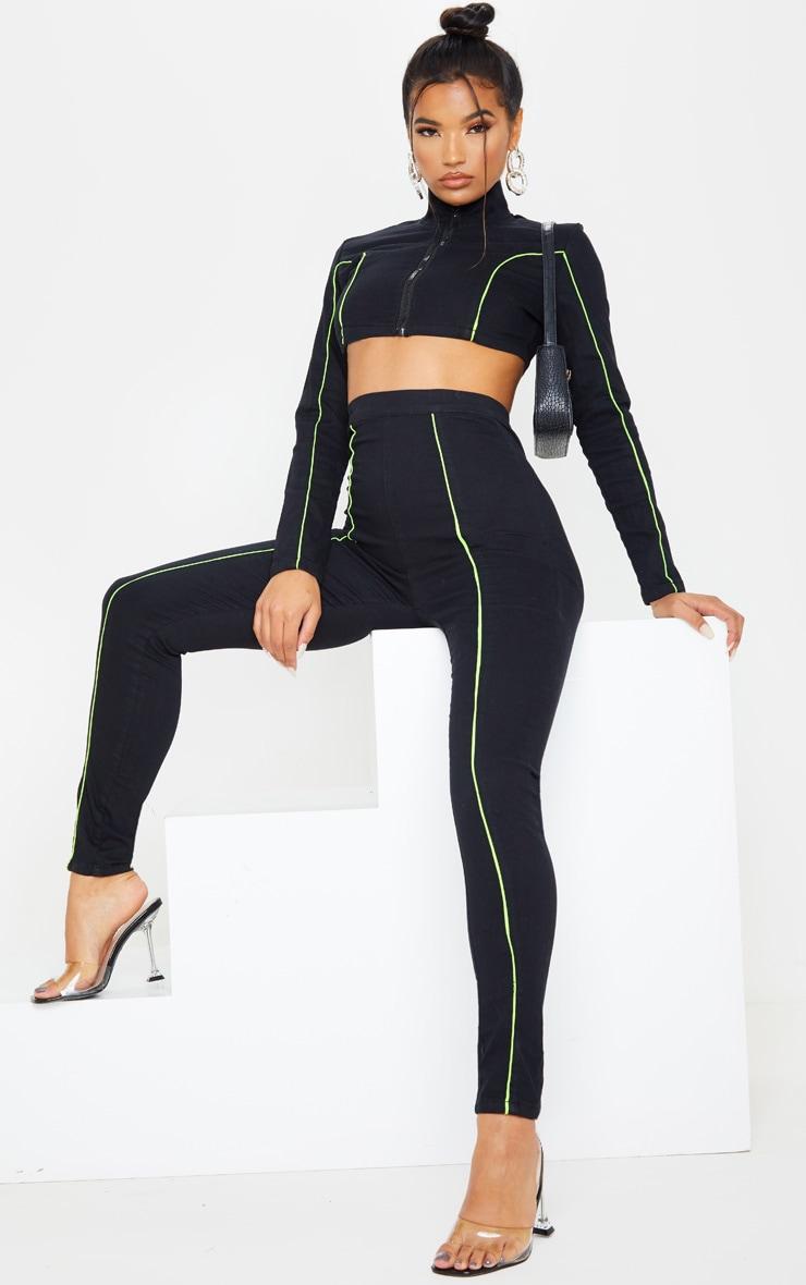 Jegging noir très stretch taille haute à coutures fluo contrastantes  1