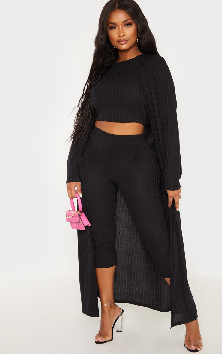 Shape Black Wide Rib Maxi Cardigan 1