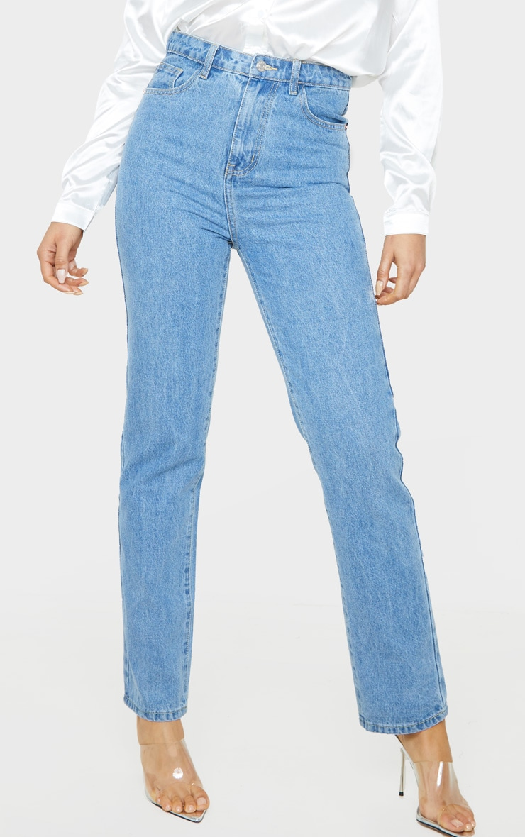 PRETTYLITTLETHING Tall Mid Blue Straight Leg Jeans 2