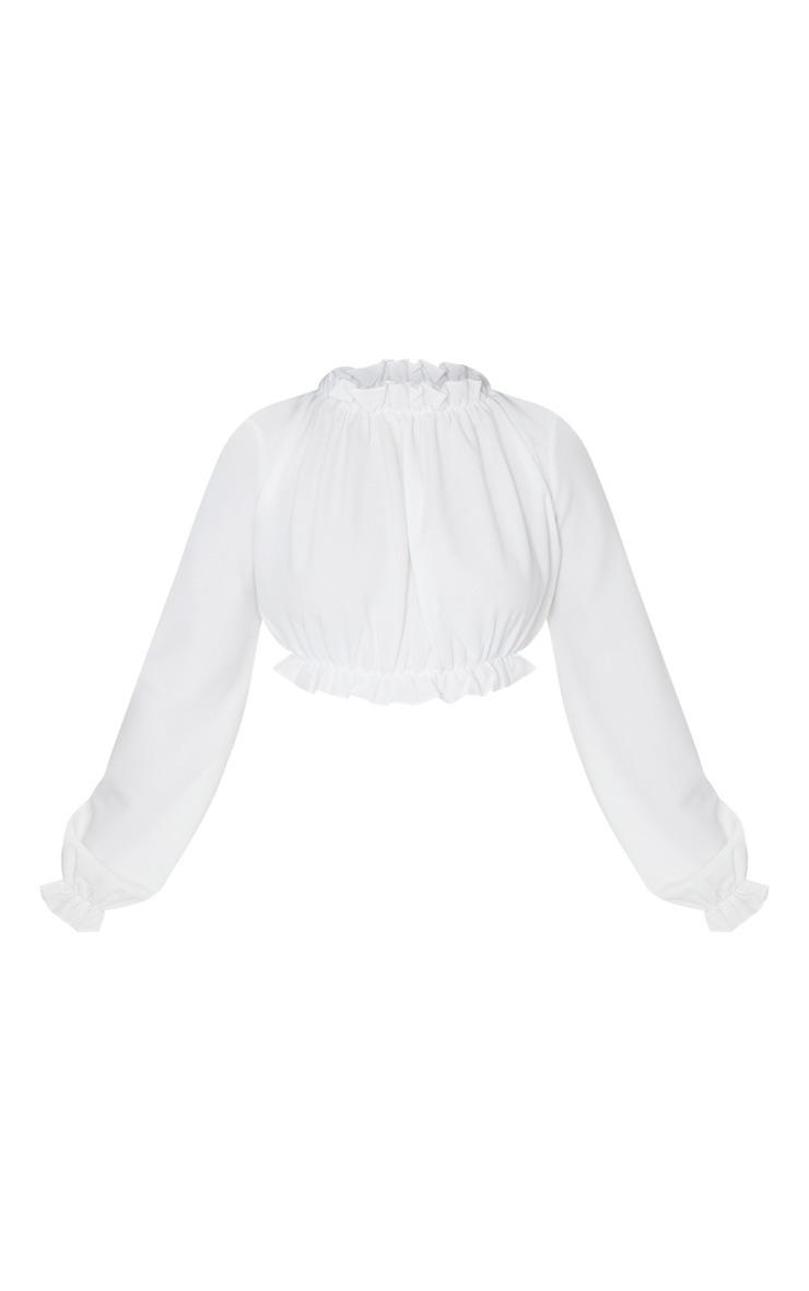 Petite Cream Long Sleeve Ruffle Crepe Blouse 5