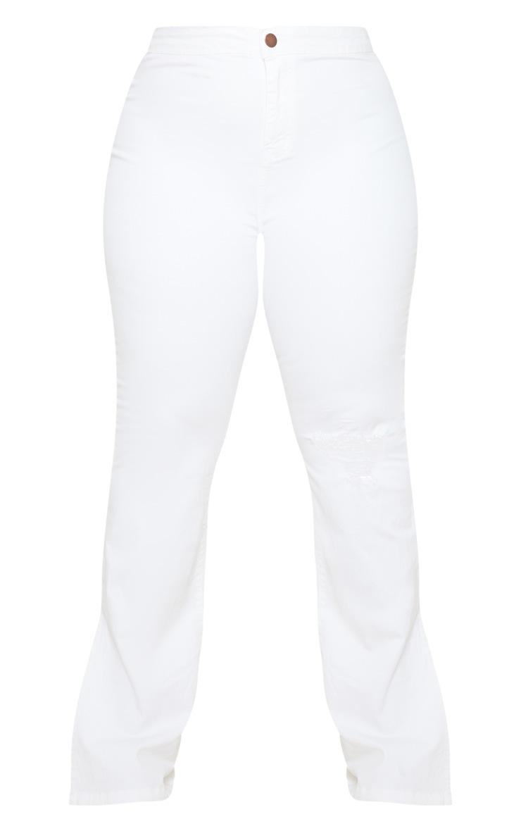 Plus White Knee Rip Flared Jean 5