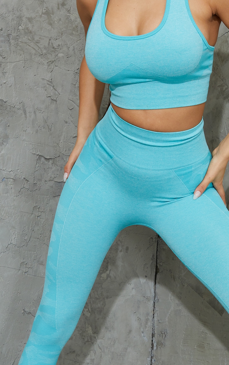 Blue Seamless Camo Panel Gym Leggings 4