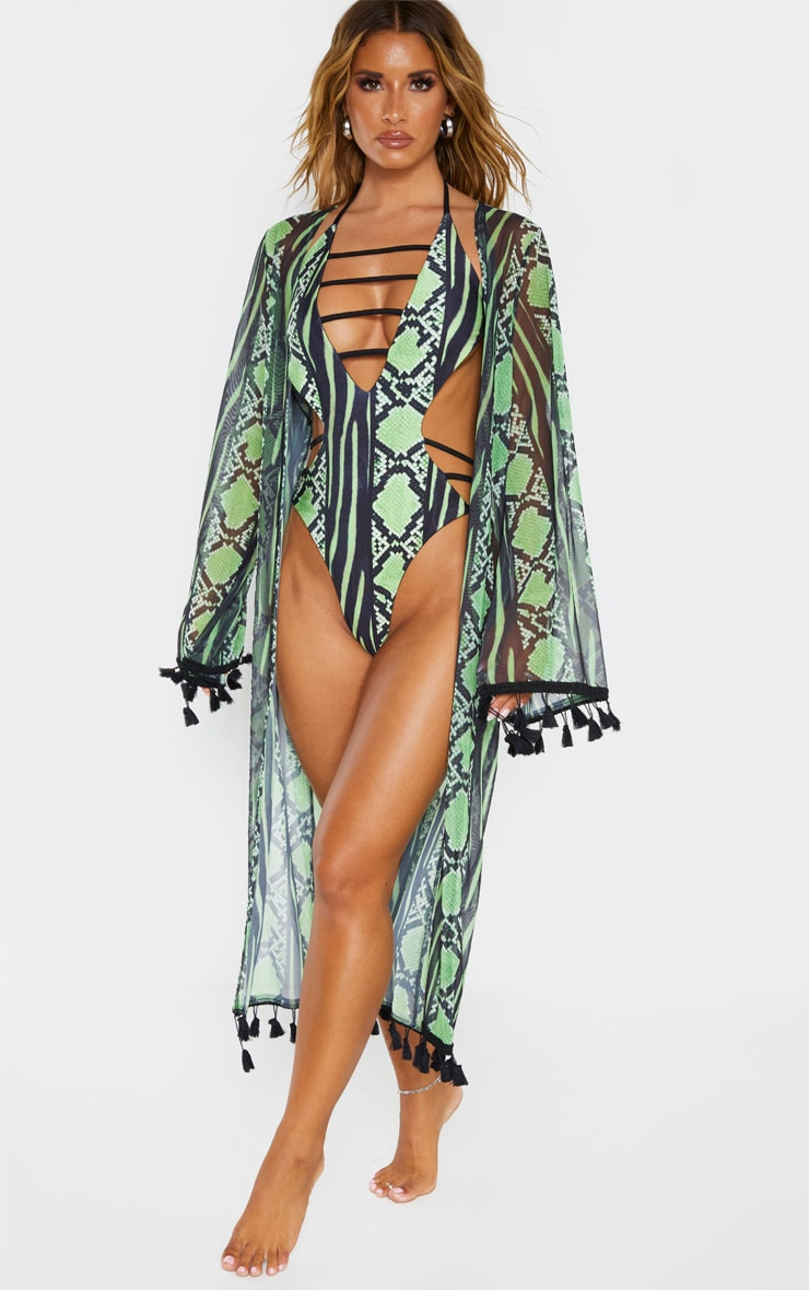 Lime Snake Print Mesh Tassel Kimono 2
