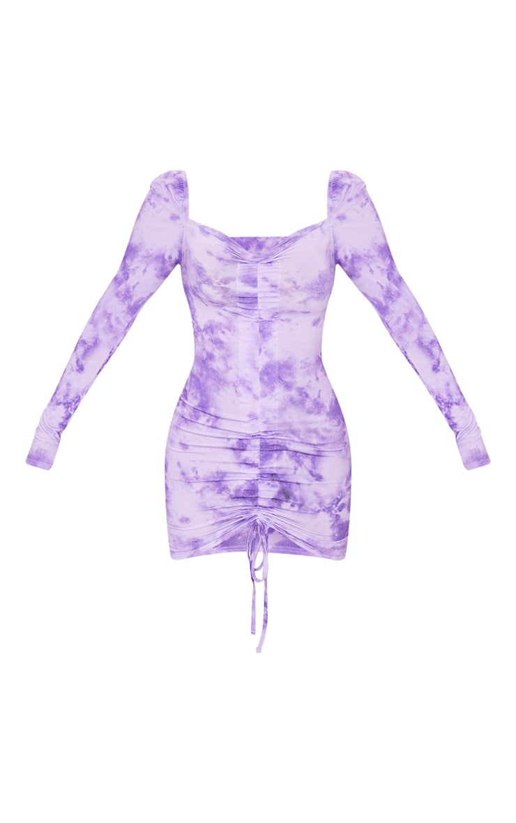 Lilac Washed Tie Dye Ruched Front Bodycon Dress 5