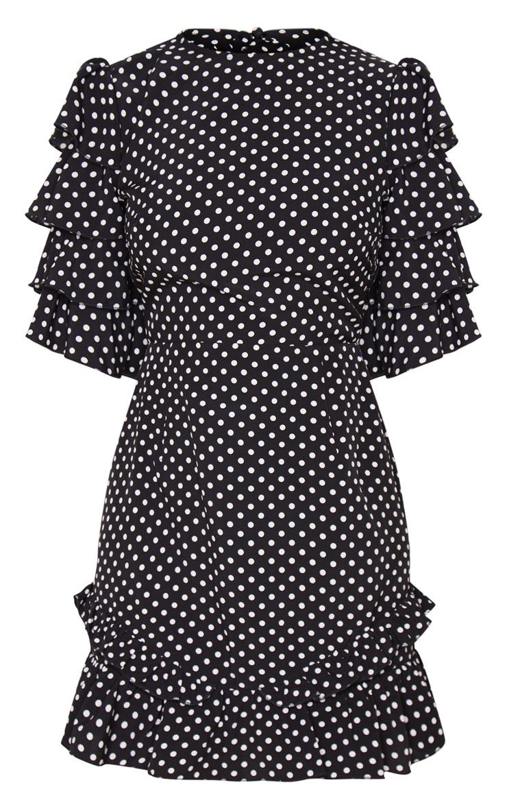 Petite Black Polka Dot Open Back Frill Sleeve Mini Dress 4