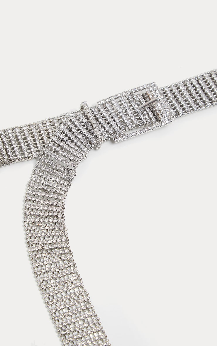 Silver Diamante Chain Link Belt 4