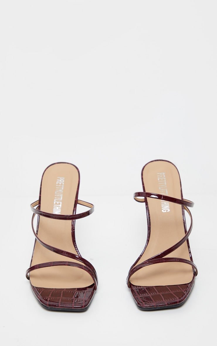 Burgundy Wide Fit Square Toe Flat Heel Strappy Mule 4